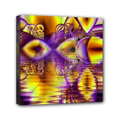 Golden Violet Crystal Palace, Abstract Cosmic Explosion Mini Canvas 6  x 6  (Framed)