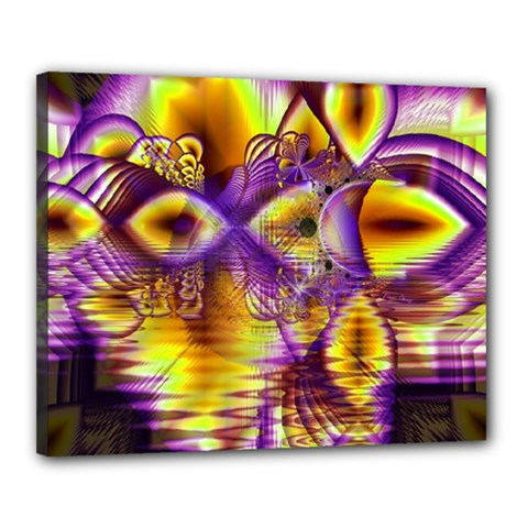 Golden Violet Crystal Palace, Abstract Cosmic Explosion Canvas 20  x 16  (Framed)
