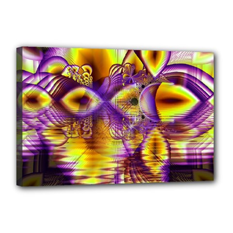 Golden Violet Crystal Palace, Abstract Cosmic Explosion Canvas 18  X 12  (framed)