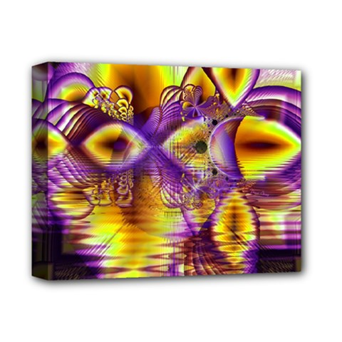 Golden Violet Crystal Palace, Abstract Cosmic Explosion Deluxe Canvas 14  x 11  (Framed)
