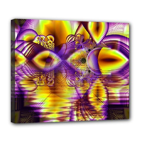 Golden Violet Crystal Palace, Abstract Cosmic Explosion Deluxe Canvas 24  X 20  (framed)