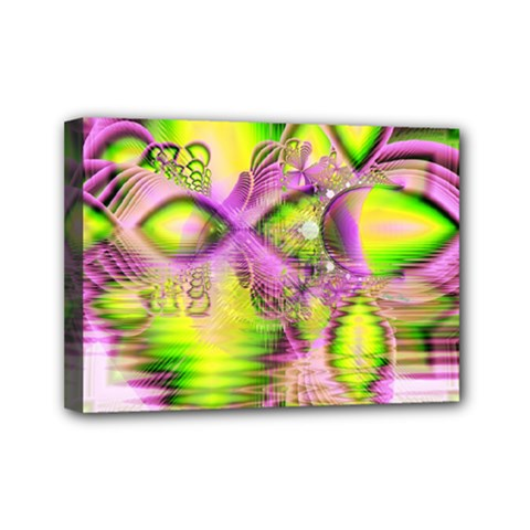 Raspberry Lime Mystical Magical Lake, Abstract  Mini Canvas 7  x 5  (Framed)