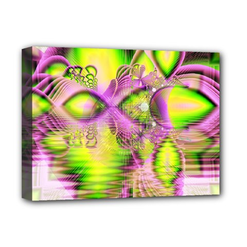 Raspberry Lime Mystical Magical Lake, Abstract  Deluxe Canvas 16  x 12  (Framed)