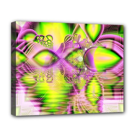 Raspberry Lime Mystical Magical Lake, Abstract  Deluxe Canvas 20  X 16  (framed)