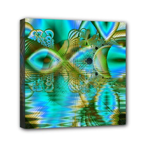 Crystal Gold Peacock, Abstract Mystical Lake Mini Canvas 6  x 6  (Framed)