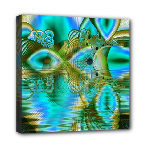 Crystal Gold Peacock, Abstract Mystical Lake Mini Canvas 8  X 8  (framed)