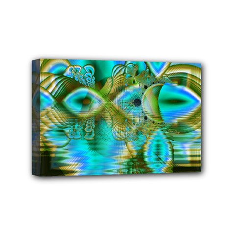 Crystal Gold Peacock, Abstract Mystical Lake Mini Canvas 6  x 4  (Framed)