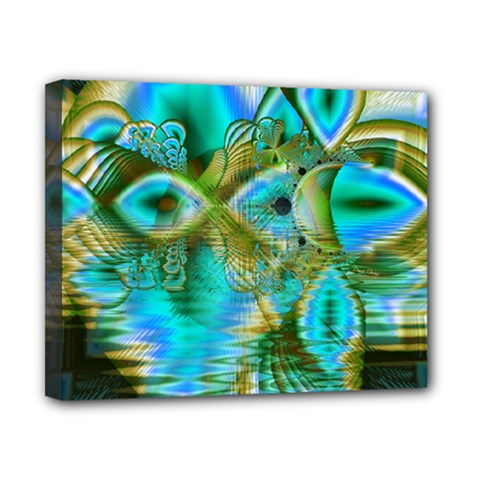 Crystal Gold Peacock, Abstract Mystical Lake Canvas 10  x 8  (Framed)
