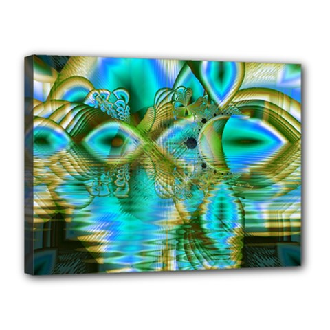 Crystal Gold Peacock, Abstract Mystical Lake Canvas 16  X 12  (framed)