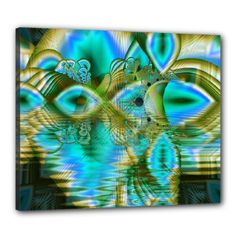 Crystal Gold Peacock, Abstract Mystical Lake Canvas 24  X 20  (framed)