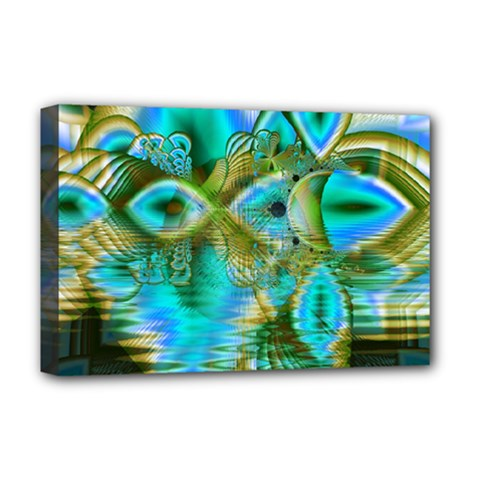 Crystal Gold Peacock, Abstract Mystical Lake Deluxe Canvas 18  x 12  (Framed)