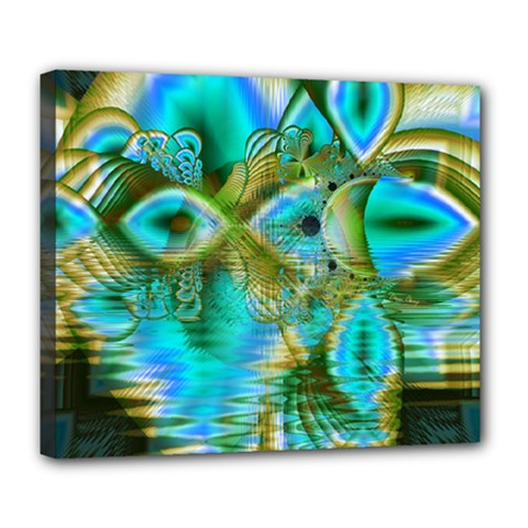 Crystal Gold Peacock, Abstract Mystical Lake Deluxe Canvas 24  x 20  (Framed)