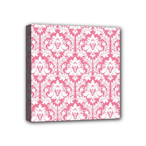White On Soft Pink Damask Mini Canvas 4  x 4  (Framed)