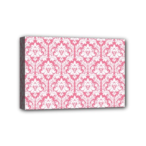 White On Soft Pink Damask Mini Canvas 6  x 4  (Framed)
