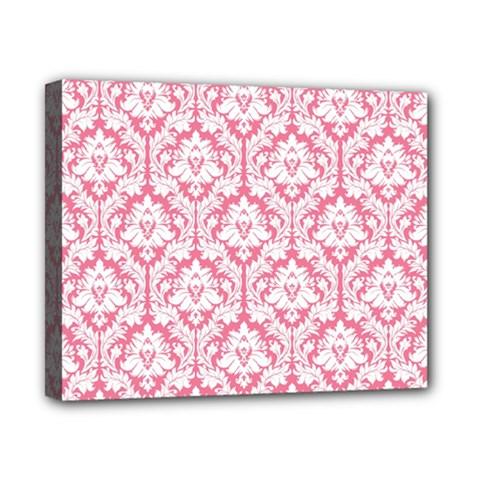 White On Soft Pink Damask Canvas 10  X 8  (framed)