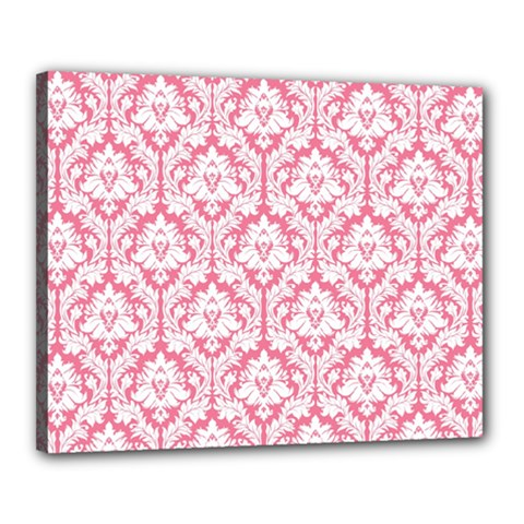 White On Soft Pink Damask Canvas 20  x 16  (Framed)
