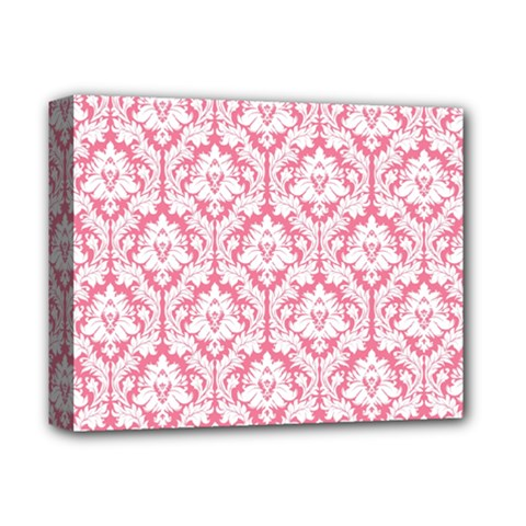 White On Soft Pink Damask Deluxe Canvas 14  X 11  (framed)