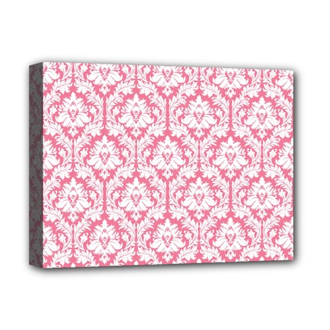 White On Soft Pink Damask Deluxe Canvas 16  x 12  (Framed)