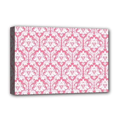 White On Soft Pink Damask Deluxe Canvas 18  x 12  (Framed)