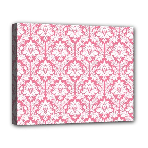 White On Soft Pink Damask Deluxe Canvas 20  x 16  (Framed)