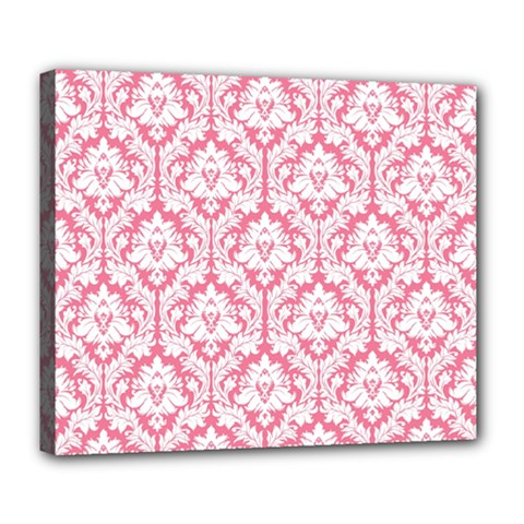White On Soft Pink Damask Deluxe Canvas 24  X 20  (framed)
