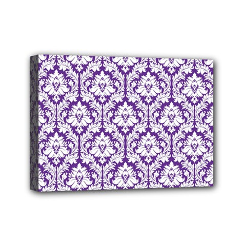 White On Purple Damask Mini Canvas 7  X 5  (framed)