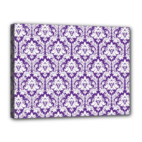 White on Purple Damask Canvas 16  x 12  (Framed)