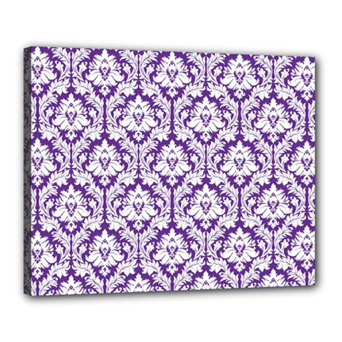 White On Purple Damask Canvas 20  X 16  (framed)