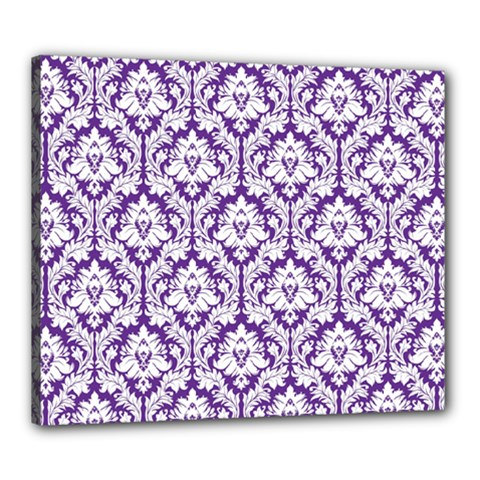 White On Purple Damask Canvas 24  X 20  (framed)