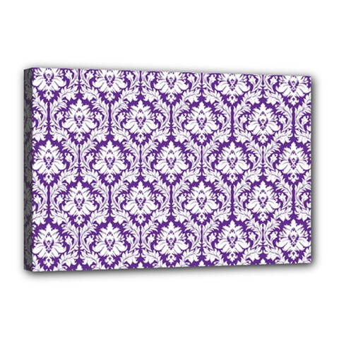 White on Purple Damask Canvas 18  x 12  (Framed)