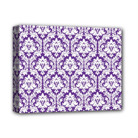 White On Purple Damask Deluxe Canvas 14  X 11  (framed)