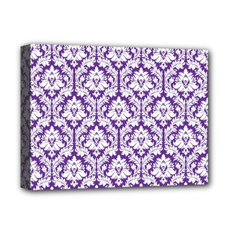 White on Purple Damask Deluxe Canvas 16  x 12  (Framed)