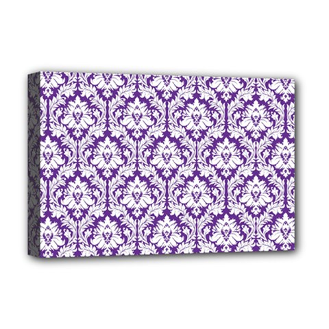 White on Purple Damask Deluxe Canvas 18  x 12  (Framed)