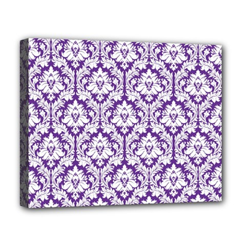 White On Purple Damask Deluxe Canvas 20  X 16  (framed)
