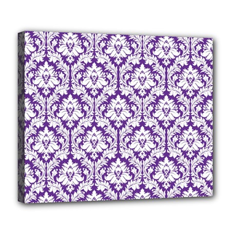 White on Purple Damask Deluxe Canvas 24  x 20  (Framed)