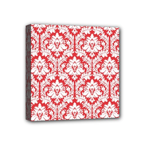 White On Red Damask Mini Canvas 4  x 4  (Framed)