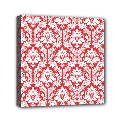 White On Red Damask Mini Canvas 6  X 6  (framed)
