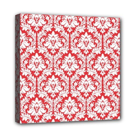 White On Red Damask Mini Canvas 8  x 8  (Framed)