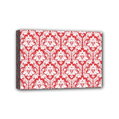 White On Red Damask Mini Canvas 6  x 4  (Framed)