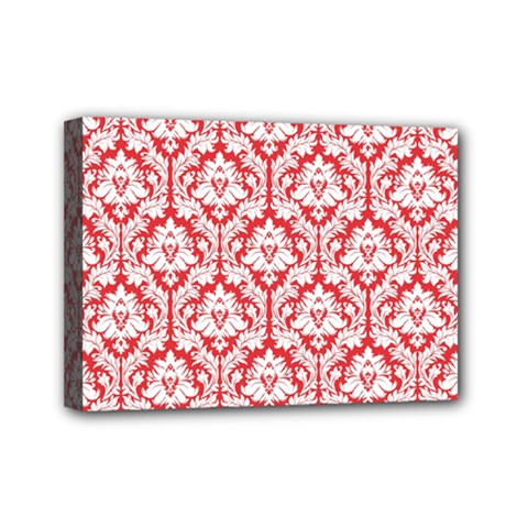 White On Red Damask Mini Canvas 7  X 5  (framed)