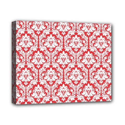 White On Red Damask Canvas 10  x 8  (Framed)
