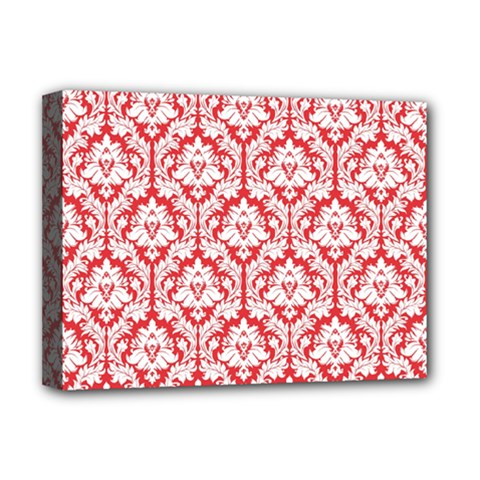 White On Red Damask Deluxe Canvas 16  X 12  (framed)