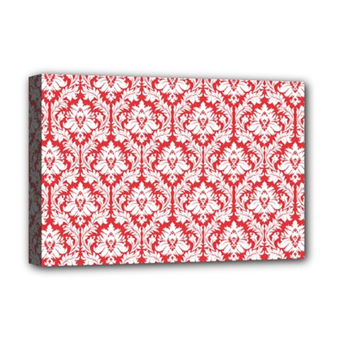White On Red Damask Deluxe Canvas 18  x 12  (Framed)