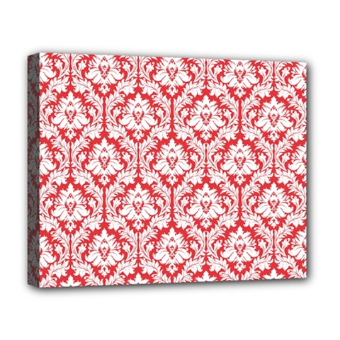 White On Red Damask Deluxe Canvas 20  X 16  (framed)