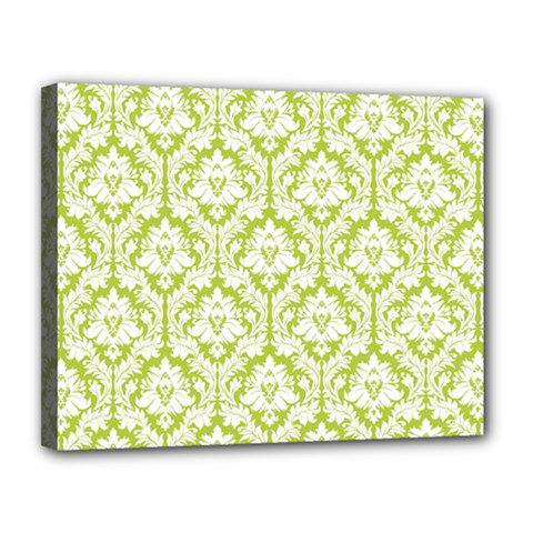 White On Spring Green Damask Canvas 14  x 11  (Framed)