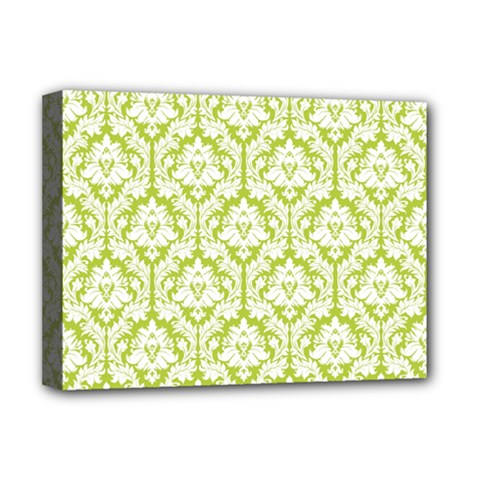 White On Spring Green Damask Deluxe Canvas 16  x 12  (Framed)