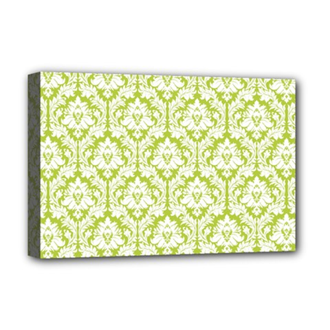 White On Spring Green Damask Deluxe Canvas 18  x 12  (Framed)