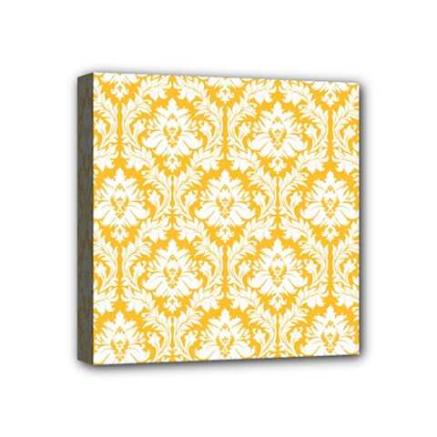 White On Sunny Yellow Damask Mini Canvas 4  X 4  (framed)