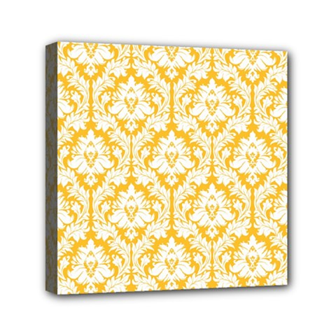 White On Sunny Yellow Damask Mini Canvas 6  x 6  (Framed)