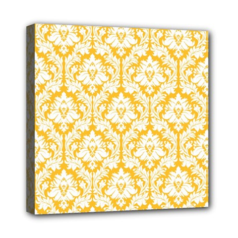 White On Sunny Yellow Damask Mini Canvas 8  x 8  (Framed)